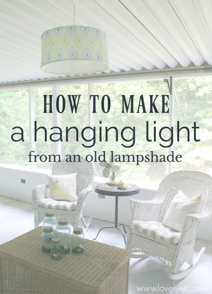 how to make a hanging light from an old lampshade, an easy and inexpensive light fixture that you can hang anywhere.