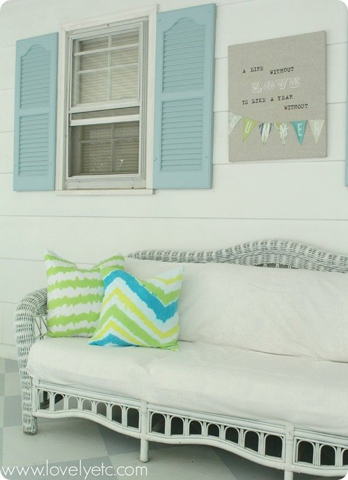ikat pillows on screened porch