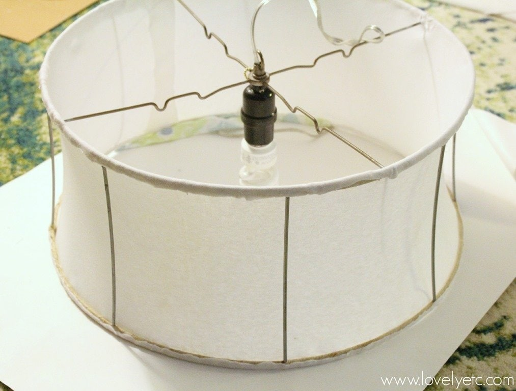 How to make a super cheap hanging light lovely etc lining the inside of your lampshade greentooth Gallery