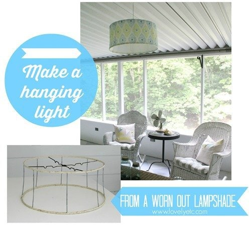 make a hanging light from a worn out lampshade