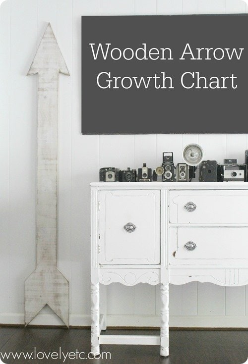 oversized wooden arrow growth chart