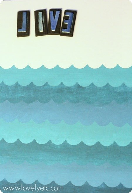 painting waves with shape tape