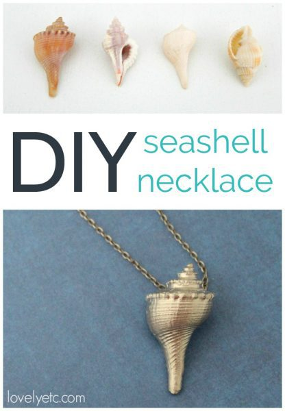 Easy diy seashell necklace - the perfect shell craft.  This necklace is easy to make and is super classy thanks to a silver leaf finish.  The perfect beach souvenir or gift idea.