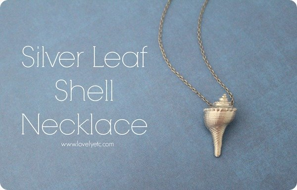 silver leaf shell necklace