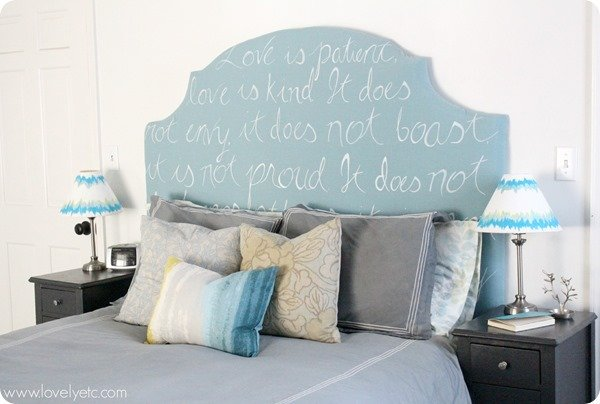 DIY upholstered headboard and painted lampshades