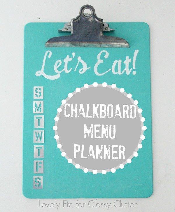 Turquoise chalkboard menu planner