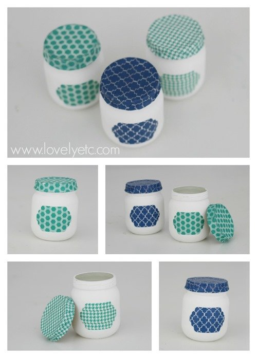 baby food jars upcycled with washi tape