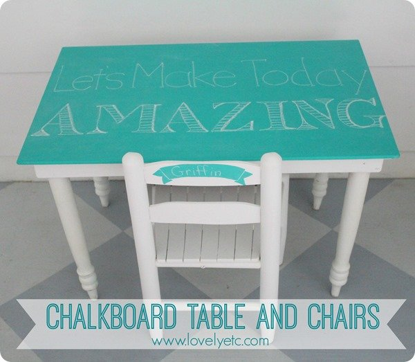 blue chalkboard kids table and chairs