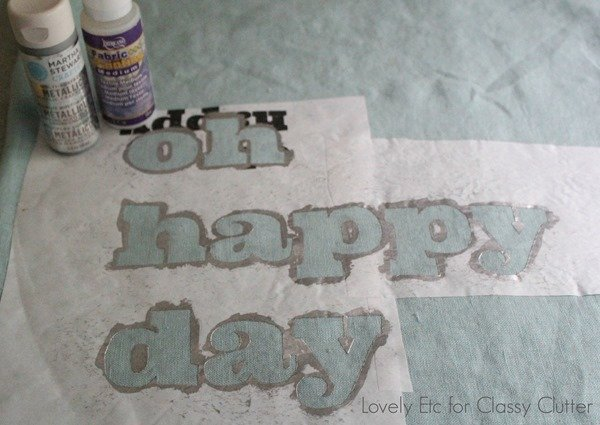 freezer paper stencil with metallic paint