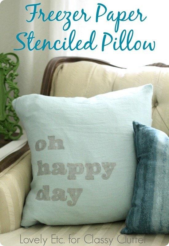 freezer paper stenciled pillow