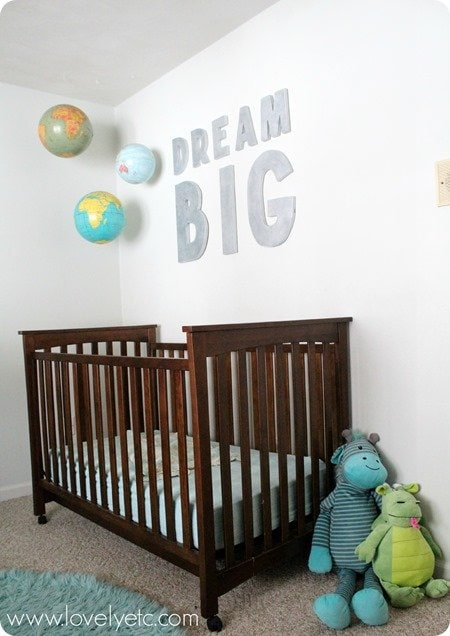 hanging globes over crib