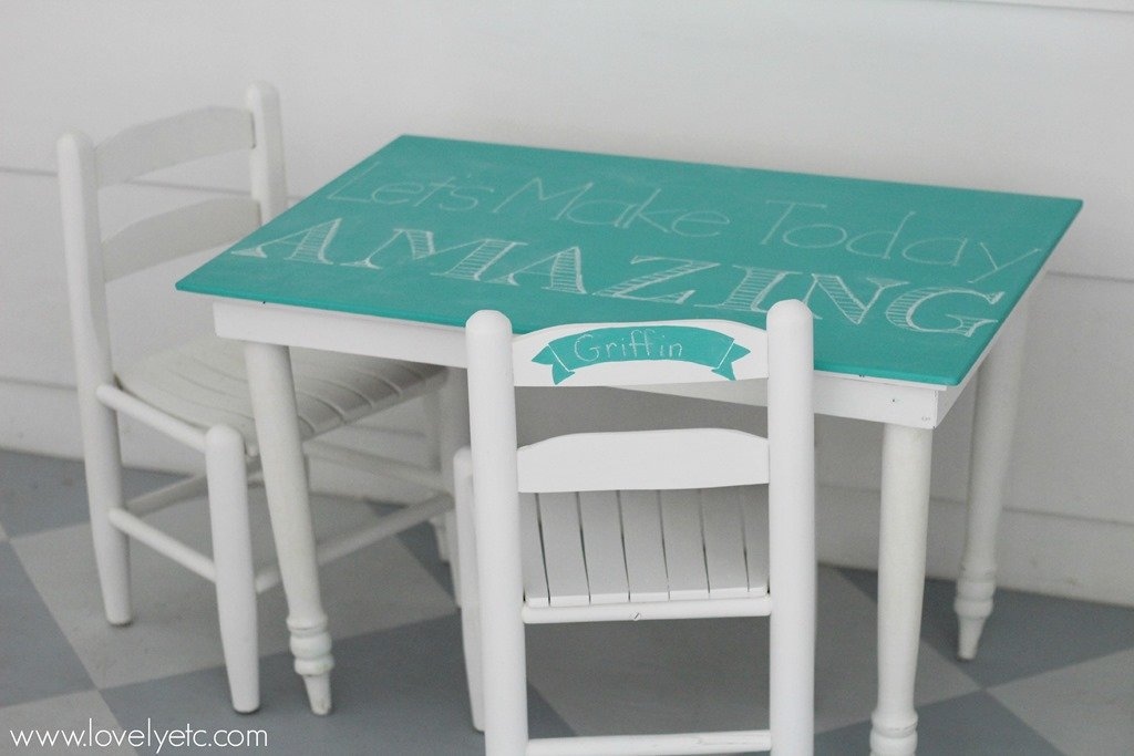 Attractive Kids Table And Chairs With Turquoise Chalkboard Paint