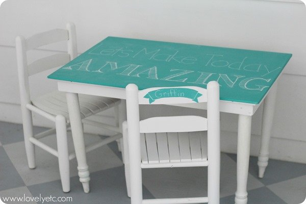 kids table and chairs with turquoise chalkboard paint
