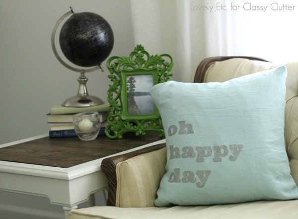 oh happy day stenciled pillow