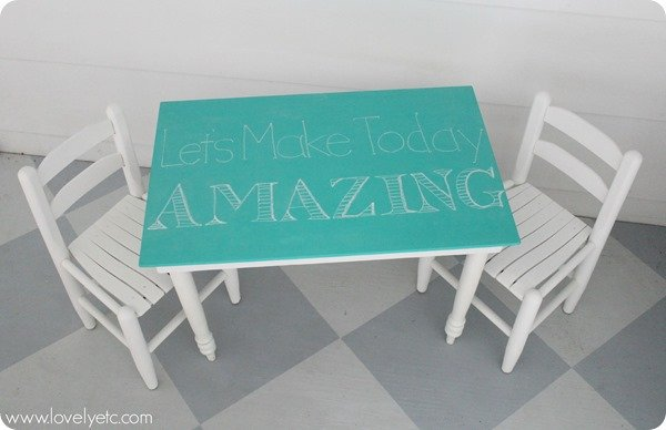 turquoise and white kids table and chairs