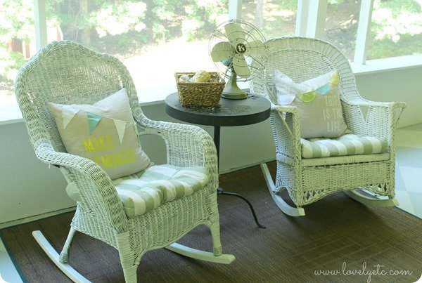 wicker rockers with happy pillows 2