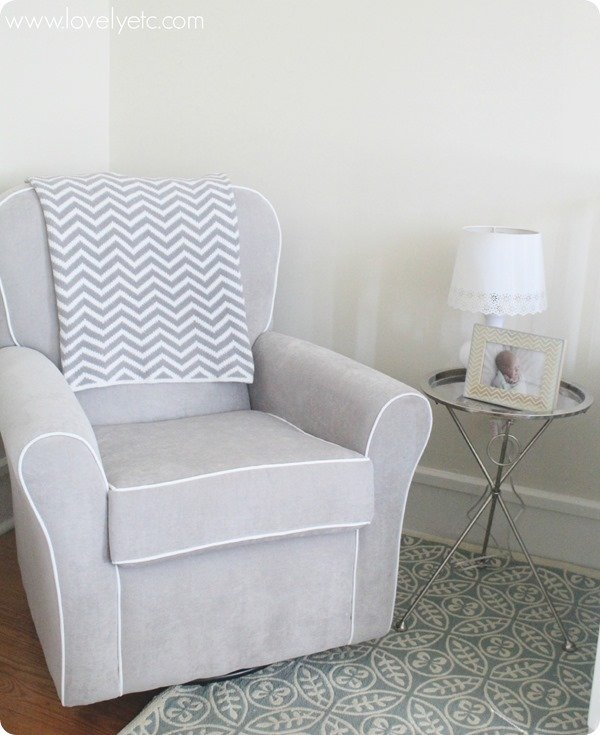 gray nursery glider with silver table