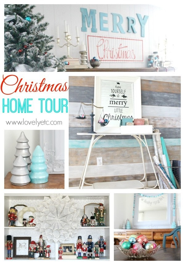 christmas home tour - Teal And Red Christmas Decorations