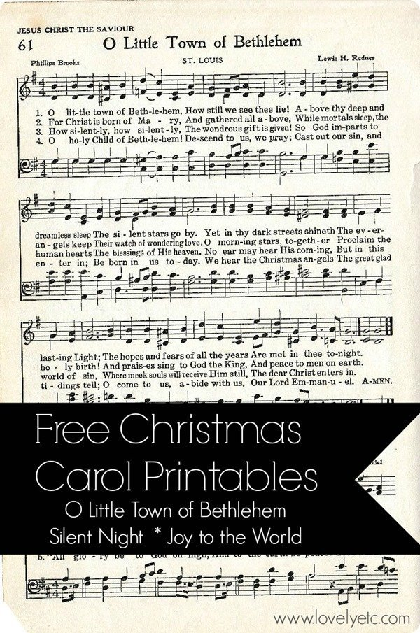 Free Christmas Carol Printables including O Little Town of Bethlehem.