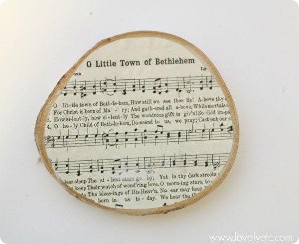 O Little Town of Bethlehem wood slice ornament