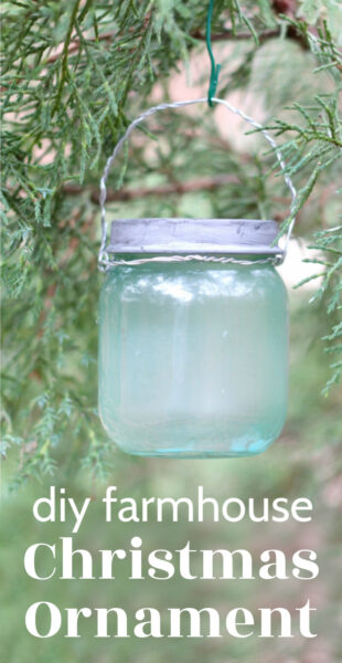 mini mason jar Christmas ornament hanging on tree.