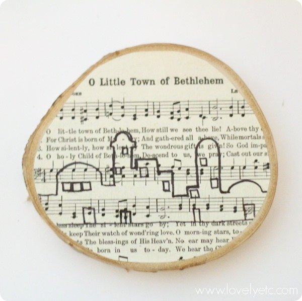 drawing Bethlehem on DIY wood slice ornament