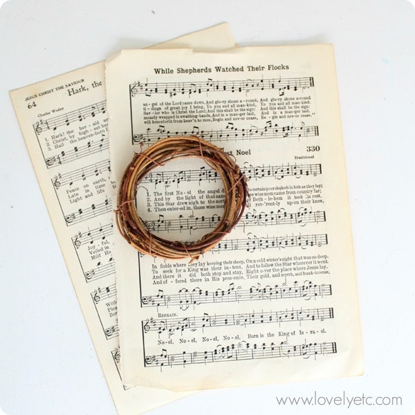 Christmas music pages and mini wreath to make DIY music ornament.