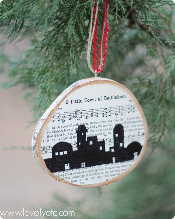 o little town of bethlehem ornament hanging on tree