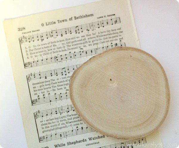 o little town music sheet with wood slice