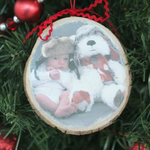 wood slice photo ornament
