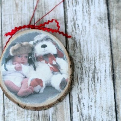 Photo Transfer Wood Slice Christmas Ornament