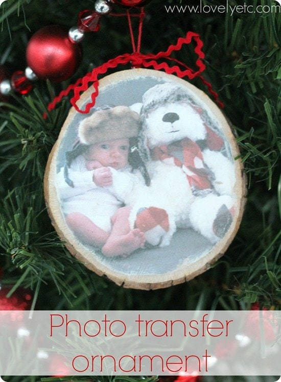 photo wood transfer ornament on tree