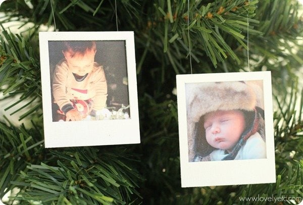 polaroid photo Christmas ornaments