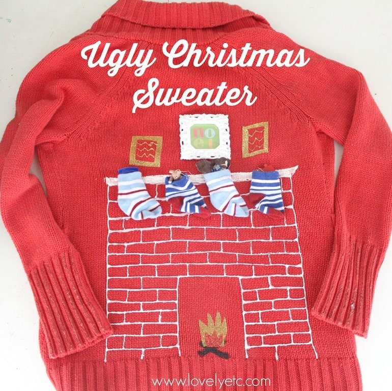 Ugly Christmas sweater idea - love the 3D stockings with real candy ...