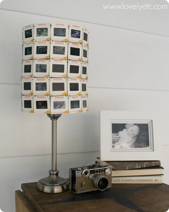 vintage slide lampshade unlit