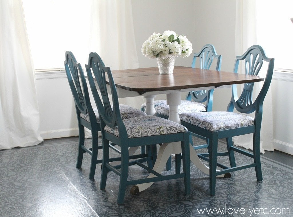 transformed dining room table and chairs these were painted and