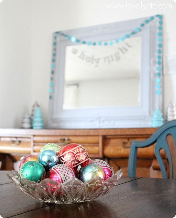 bowl of vintage ornaments