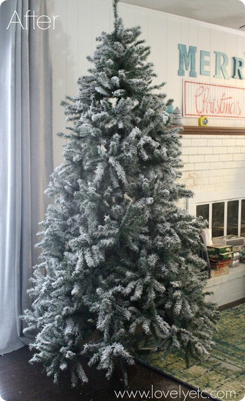 Diy flocked christmas tree lovely etc christmas tree after solutioingenieria Image collections