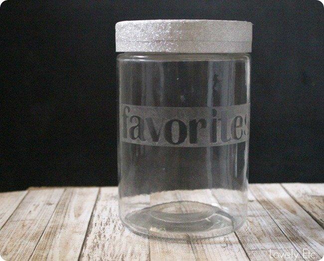 etched glass favorites jar