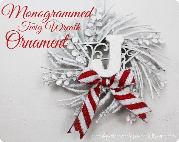monogrammed twig wreath ornament