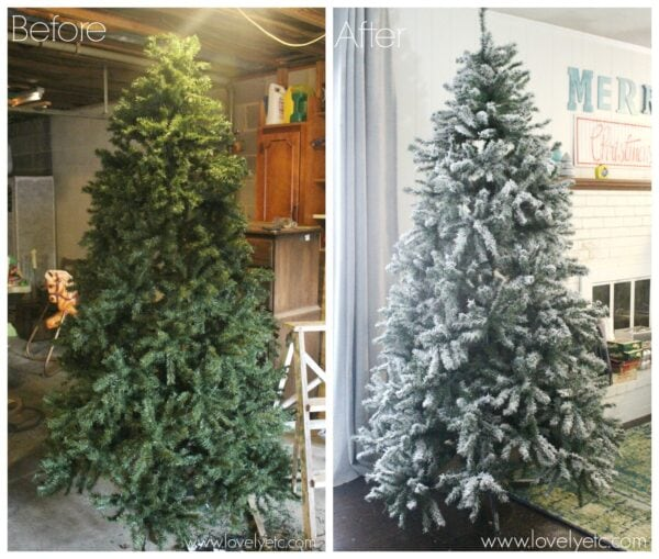 How to Flock a Christmas Tree. DIY Flocked Christmas Tree before and after.