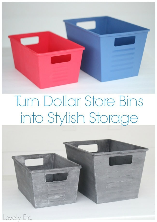 Awesome tutorial on how to paint inexpensive dollar store bins to look like vintage metal locker bins