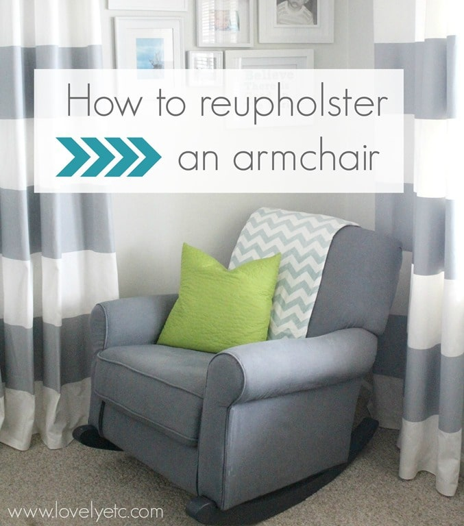 reupholster an armchair redhead can decorate. Black Bedroom Furniture Sets. Home Design Ideas