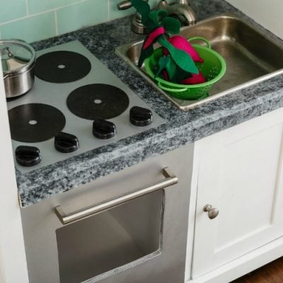 Details of a DIY Play Kitchen