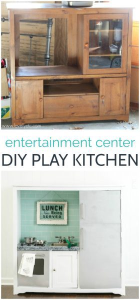 How to make a beautiful diy play kitchen from an old entertainment center.