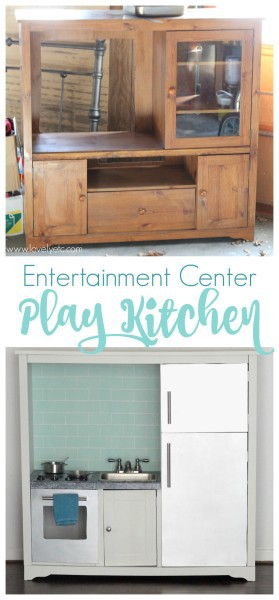 upcycled entertainment center play kitchen