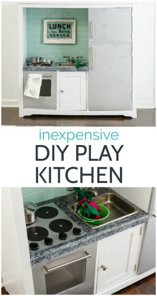 How to make an inexpensive diy play kitchen from an old entertainment center.