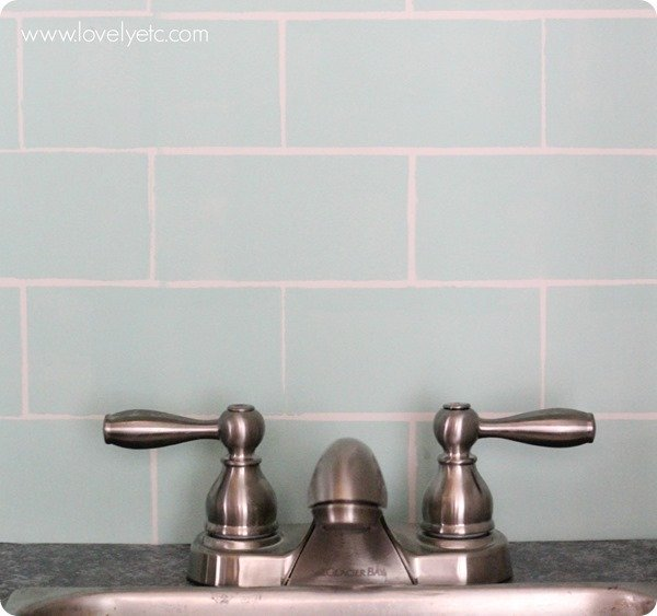 DIY play kitchen with painted backsplash