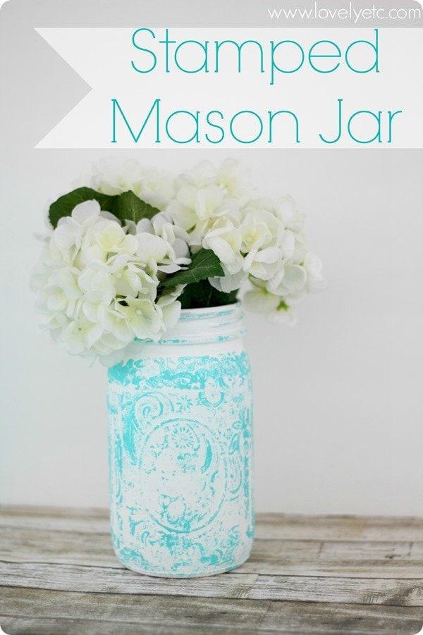 stamped mason jar