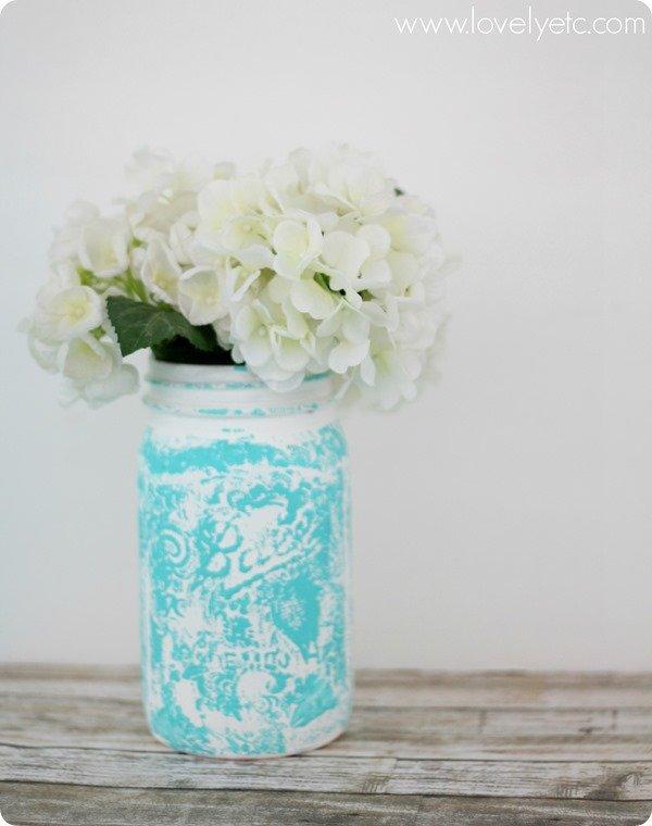 stamped spring mason jar
